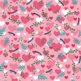Valentine`s pattern with hearts and flowers. Sweet valentine`s pattern with hearts and flowers in blue and pink colors Stock Photo