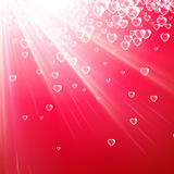 Valentine`s pink background with hearts. Royalty Free Stock Image