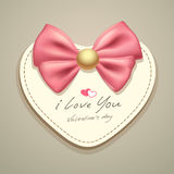 Valentines pink ribbons and heart paper Stock Photos