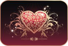 Valentine's postcard. Glamour Valentine's vector postcard with golden floral ornament and heart Stock Photo