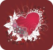 Valentine's postcard. With heart and floral ornament Stock Images