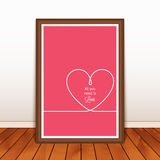 Valentine's poster with heart on wood background Royalty Free Stock Images