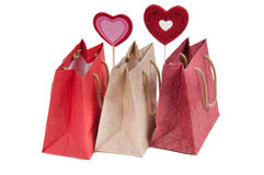 Valentine's present bags with beautiful hearts Stock Image