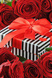 Valentine's present in red roses frame Royalty Free Stock Image