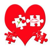 Valentine`s puzzle. With love symbols on big red heart isolated on white royalty free illustration