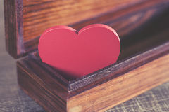 Valentine's red heart in a box Stock Images