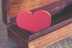 Valentine's red heart in a box. Love concept. Valentine's red heart in a box Stock Images