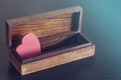 Valentine's red heart in a box Royalty Free Stock Photos