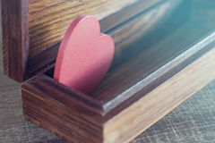 Valentine's red heart in a box. Love concept Royalty Free Stock Images