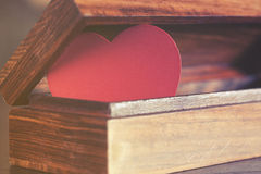 Valentine's red heart in a box. Love concept Stock Photo
