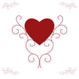 Valentine's Red Heart - Ornate Scrolls. Illustration of a red filled heart, centred and supported by ornate, yet contemporary, scrolls.  Red with white Stock Images
