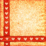 Valentine's scrap-book background. Textured scrap-book background with hearts and curls Royalty Free Stock Photo