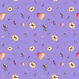 Valentine`s seamless cute cartoon pattern made with love. Cute cartoon valentine pattern with different elements about love including love letters, roses Royalty Free Stock Photo