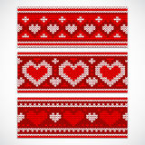Valentine's seamless knitted banners with hearts Stock Photo