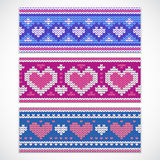 Valentine's seamless knitted banners with hearts Royalty Free Stock Image
