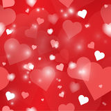 Valentine's seamless pattern. Red repeating pattern with hearts and sparkles Stock Images