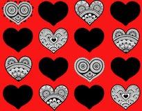 Valentine`s seamless pattern with lace hearts. Mehndi style stock illustration