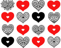 Valentine`s seamless pattern with lace hearts. Mehndi style vector illustration
