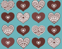 Valentine`s seamless pattern with lace hearts. Mehndi style royalty free illustration