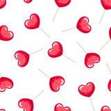Valentine's seamless pattern with red heart lollipops. Vector illustration. Royalty Free Stock Images