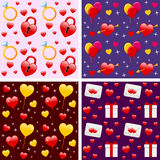 Valentine s Seamless Patterns. Collection of four colorful St. Valentines or Saint Valentine s Day seamless backgrounds, useful also as design elements for Stock Photo