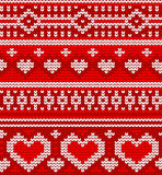 Valentine's seamless vector knitted pattern with Stock Photos