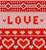 Valentine's seamless vector knitted pattern with Royalty Free Stock Photography