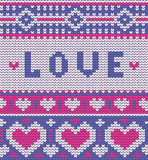 Valentine's seamless vector knitted pattern with Stock Image