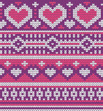 Valentine's seamless vector knitted pattern with Stock Images