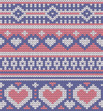 Valentine's seamless vector knitted pattern with Royalty Free Stock Image