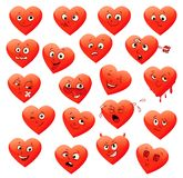 Valentine's set of heart emotions Royalty Free Stock Photos