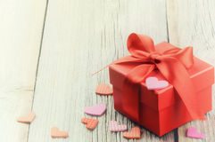 Valentine's setting with gift box Stock Photography