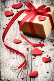 Valentine's setting with gift box Royalty Free Stock Image