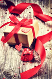 Valentine's setting with gift box Royalty Free Stock Images