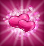 Valentines shimmering background with beautiful he Royalty Free Stock Photo