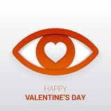 Valentine`s sign. Eye with heart in the pupil. Royalty Free Stock Images