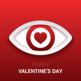 Valentine`s sign. Eye with heart in the pupil. Stock Photography