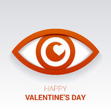 Valentine`s sign. Eye with heart in the pupil. Stock Photo