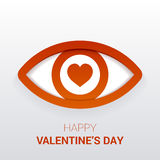 Valentine`s sign. Eye with heart in the pupil. Stock Photos