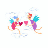 Valentine's Sketch Hand Draw Doodle Angels Couple Holding Heart Royalty Free Stock Images