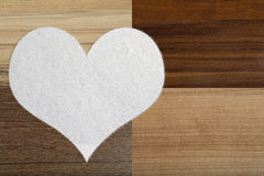 Valentine's snow hearts on a wooden background Royalty Free Stock Photo