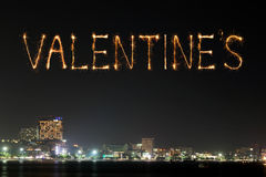 Valentine's sparkle Fireworks celebrating over Pattaya beach at Stock Image