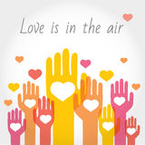 Valentine's or support background, greeting card with hands and hearts. vector illustration