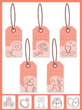 Valentine's tags. The tags with love pictures Stock Photo