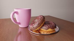 Valentine`s tasty donuts with cup of coffe or tea royalty free stock image