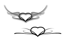 Valentine´s tattoo. Simple sketch of black Valentine tattoo Royalty Free Stock Photos