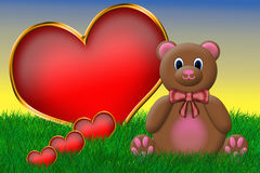 Valentine's Teddy Bear. Sitting beside a big red heart Royalty Free Stock Photo