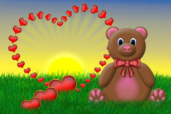 Valentine's Teddy Bear. Sitting beside a big red heart Royalty Free Illustration