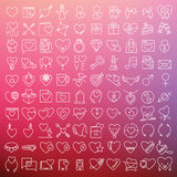 Valentine's vector icons set. Valentine's vector thin line icons set Stock Image