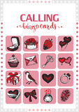 Valentine's vintage bingo card for game. Card 7. Royalty Free Stock Image
